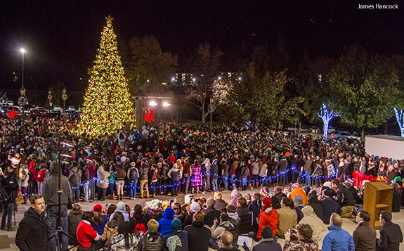 Liberty University lights up its Christmas tree during a massive campus celebration.