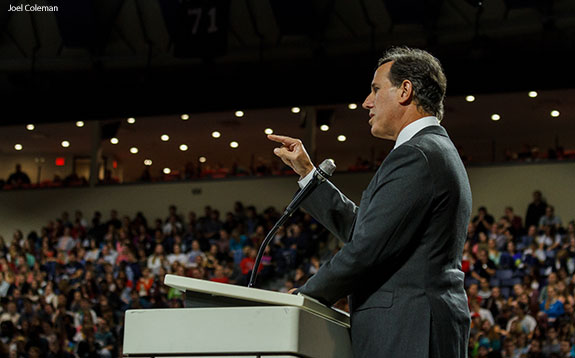 Senator Rick Santorum speaks to Liberty University students during Convocation on Nov. 10.