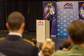 Allen West speaks at Liberty University during a Young American's for Freedom event.