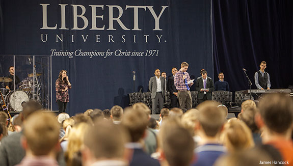 Liberty University holds a memorial service for Jon Gregoire during Convocation on Wednesday, Nov. 12.