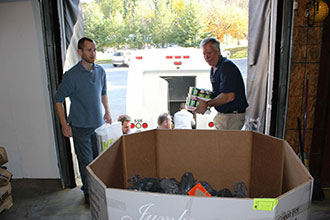 Liberty presents more than 2,500 pounds of food to a local food bank.