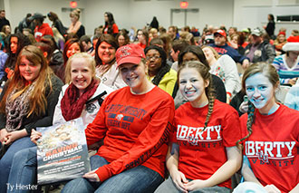 Liberty students take their seats for an early premiere of Kirk Cameron's Saving Christmas.
