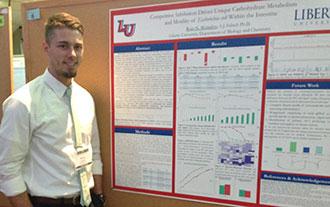 Liberty University senior Ryan Montalvo with his award-winning poster.