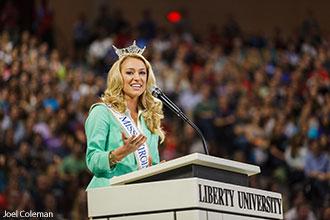 Courtney Garrett, the runner-up Miss America contestant from Pamplin, Va.