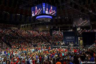 The crowd for Friday's Convocation nearly overflowed the Vines Center.