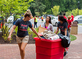New students move on campus at Liberty University.