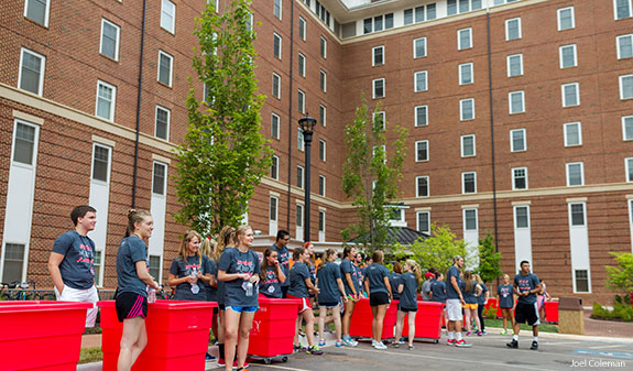 Liberty University student leaders welcome new students to campus.
