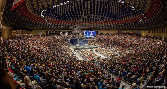Liberty University's Vines Center during a Fall 2014 Convocation event.