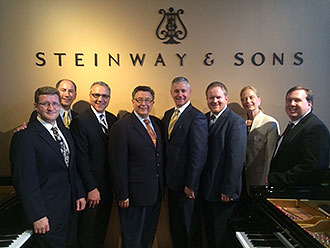 Liberty University School of Music faculty met with Steinway & Sons leaders at the piano manufacturer's selection room.