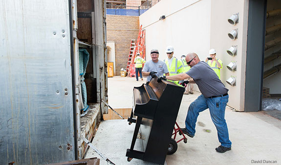 Liberty receives a shipment of Steinway pianos for its Center for Music and the Worship Arts.
