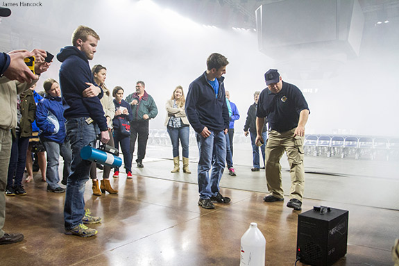 Liberty University students learn about bioterrorism on Saturday.