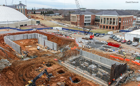Construction begins on the new student center at Liberty University.