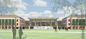 A rendering image of what the new student center at Liberty University will look like once it is completed.