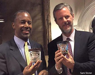Presidential candidate Dr. Ben Carson and Liberty University President Jerry Falwell attended a Ben and Jerry Ice Cream Reception after Convocation, Wednesday, Nov. 11, 2015, in the Vines Center.