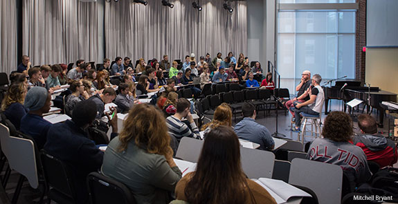 Liberty University music students learn from industry professionals during GMA Week.