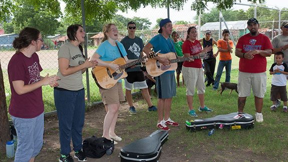 Libertad, a Liberty University music team, leads worship in Nicaragua.