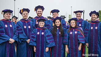 Members of Liberty University School of Law's 2015 graduating class pose at Commencement.
