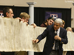 A copy of a 111-foot-long 16th century Jewish Torah scroll was donated to Liberty University's School of Divinity during an alternative Convocation on Monday, Sept. 28, in the Towns-Alumni Lecture Hall.