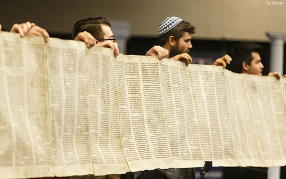 A copy of a 111-foot-long 16th century Jewish Torah scroll was donated to Liberty University's School of Divinity during an alternative Convocation on Monday, Sept. 28