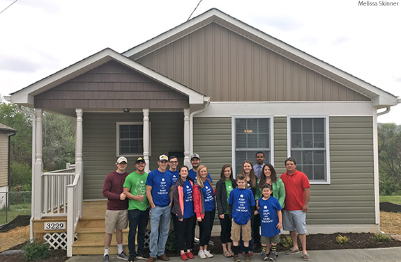 In Friday's Convocation, Liberty University's Habitat for Humanity Club presented a local family with the keys to a house that was built by more than 50 student volunteers.