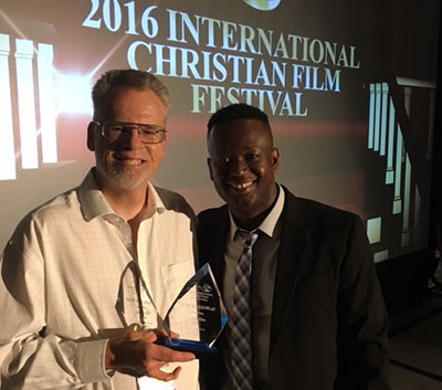 Stephan Schultze, executive director of Liberty University's cinematic arts department and ICFF director Marty Jean-Louis.