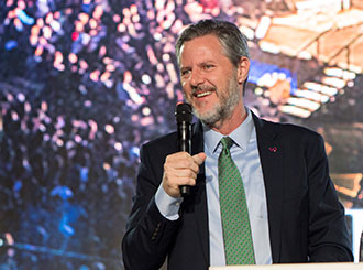 Liberty University President Jerry Falwell addresses students in Convocation.