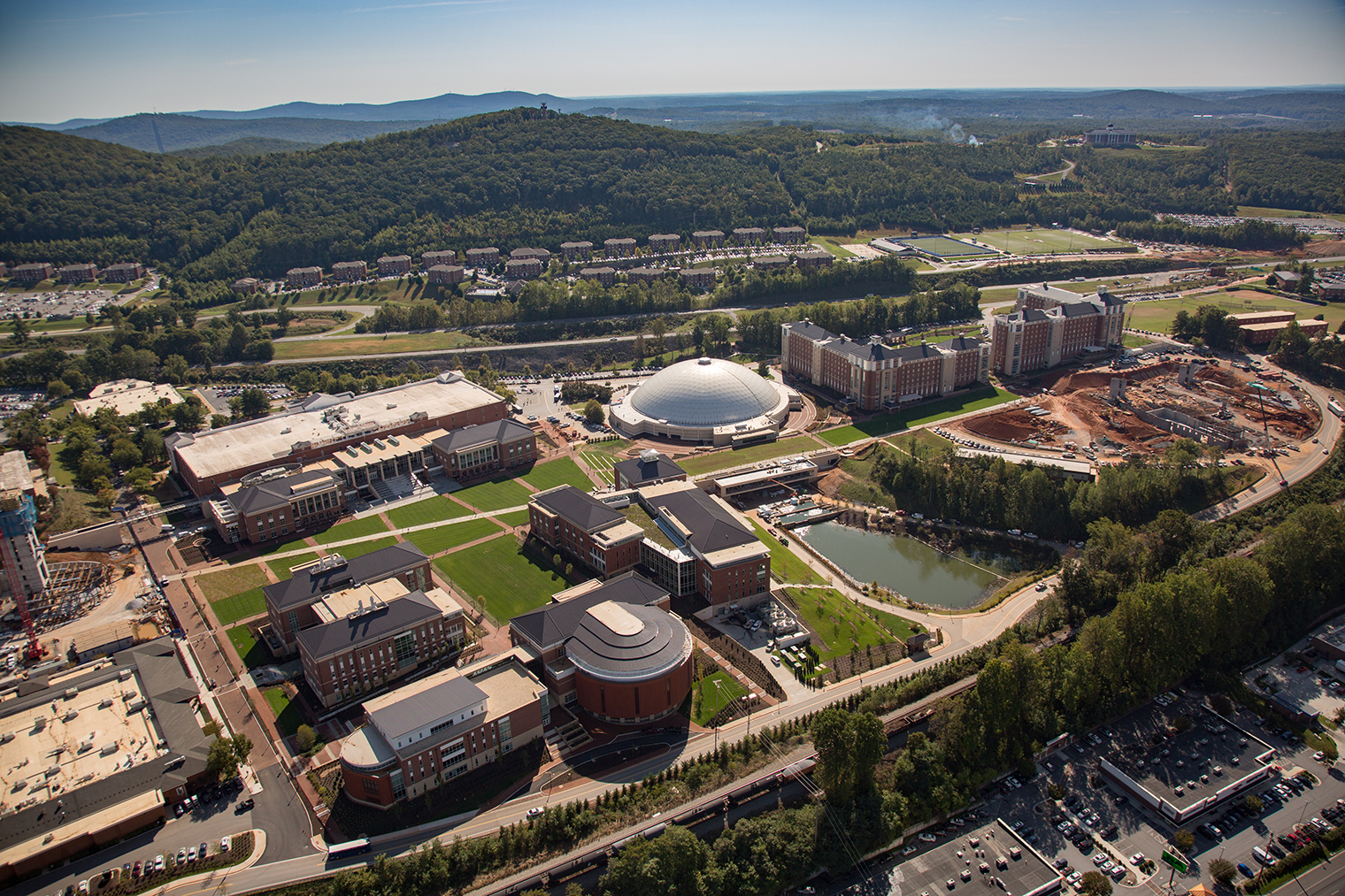 Liberty University's major campus rebuilding is one of several ways the university is impacting local and state economy. (Photo by Kevin Manguiob)