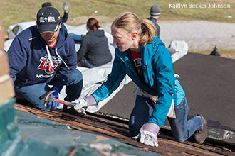 Liberty students provide disaster relief following the Appomattox tornado.