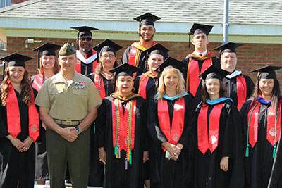 Liberty University graduates celebrate at Camp Lejeune.