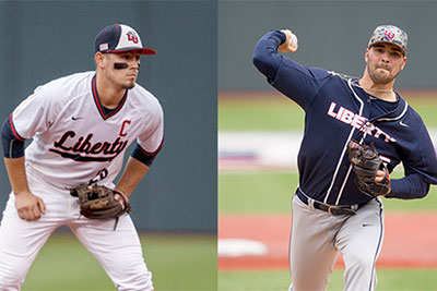 Dalton Britt (left) and Parker Bean in their Liberty Flames uniform.