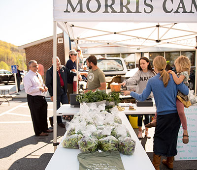Liberty University's Morris Campus Farm sells its produce at a regular farmer's market on campus.
