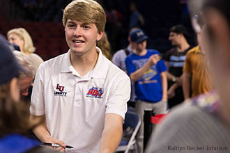 William Byron signs autographs for students after Liberty University's Convocation.