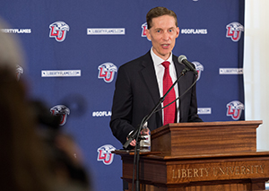 The announcement was made during a news conference at Liberty University on Monday, Nov. 28, 2016.