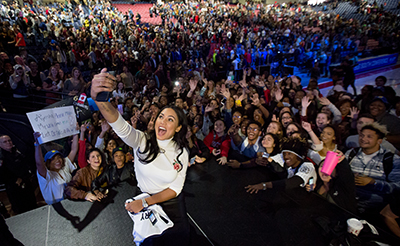 Liberty University students take a selfie with Ayesha Curry, a celebrity chef and the wife of NBA star Stephen Curry.