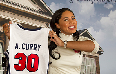Ayesha Curry was given a custom Liberty Flames Basketball jersey during her visit.