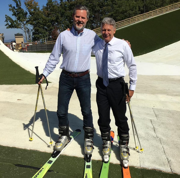 Liberty University President Jerry Falwell joins Gov. Gary Johnson at Liberty Mountain Snowflex Centre after Convocation.