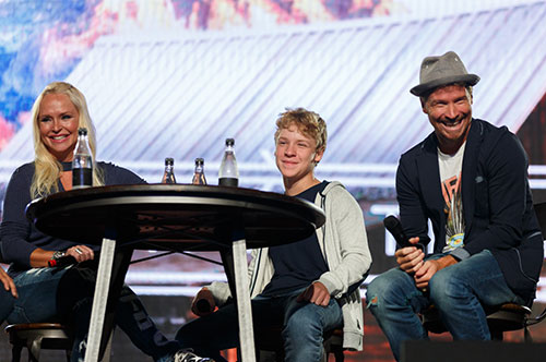 Leighanne (left), Baylee, and Brian Littrell talked about their faith and family at Liberty on Wednesday.