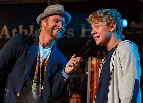 Baylee Littrell (right) joins his father in singing the 1997 Backstreet Boys hit 'As Long As You Love Me.'
