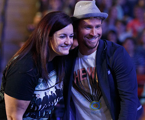 Brian Littrell takes a picture with Liberty alumna Jamie Vest ('14), a longtime fan.