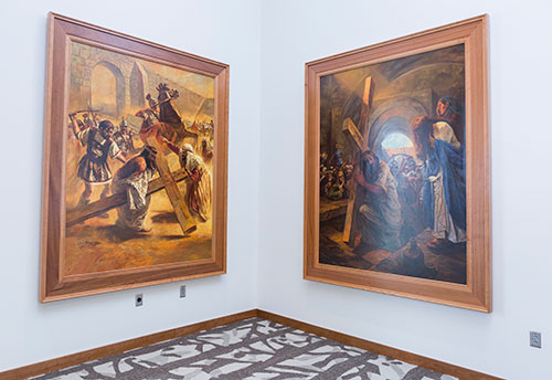 Paintings of the life of Christ now adorn the walls in Liberty's new Montview Student Union Alumni Ballroom. (Photo by Leah Seavers)