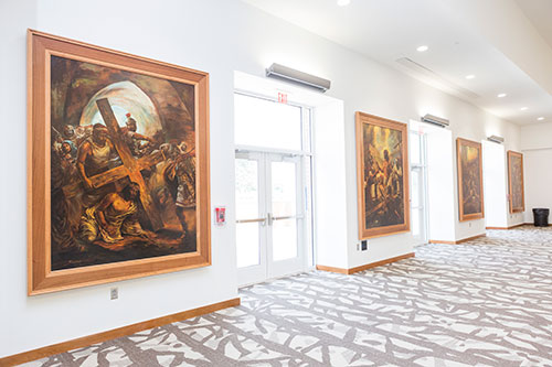 A 20-piece collection of large, exquisite paintings on the life of Christ were recently donated to Liberty University and are now on display in the Montview Student Union. (Photo by Leah Seavers)