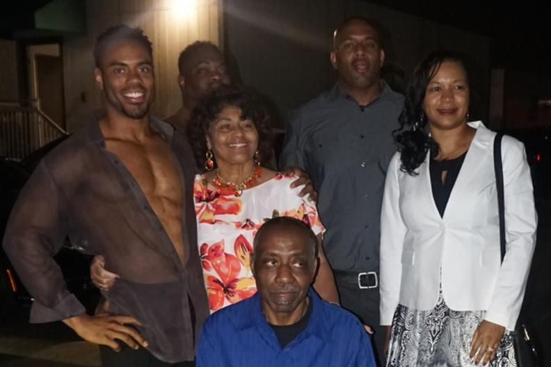 Rashad Jennings meets his family after the show.