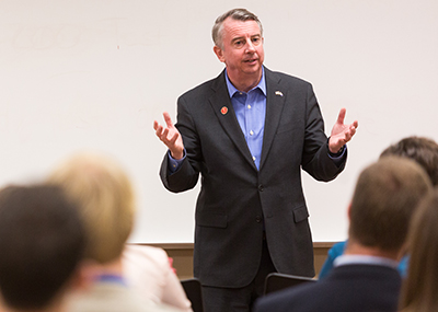 Ed Gillespie, who is running for governor of Virginia, discusses policy with Liberty government students.