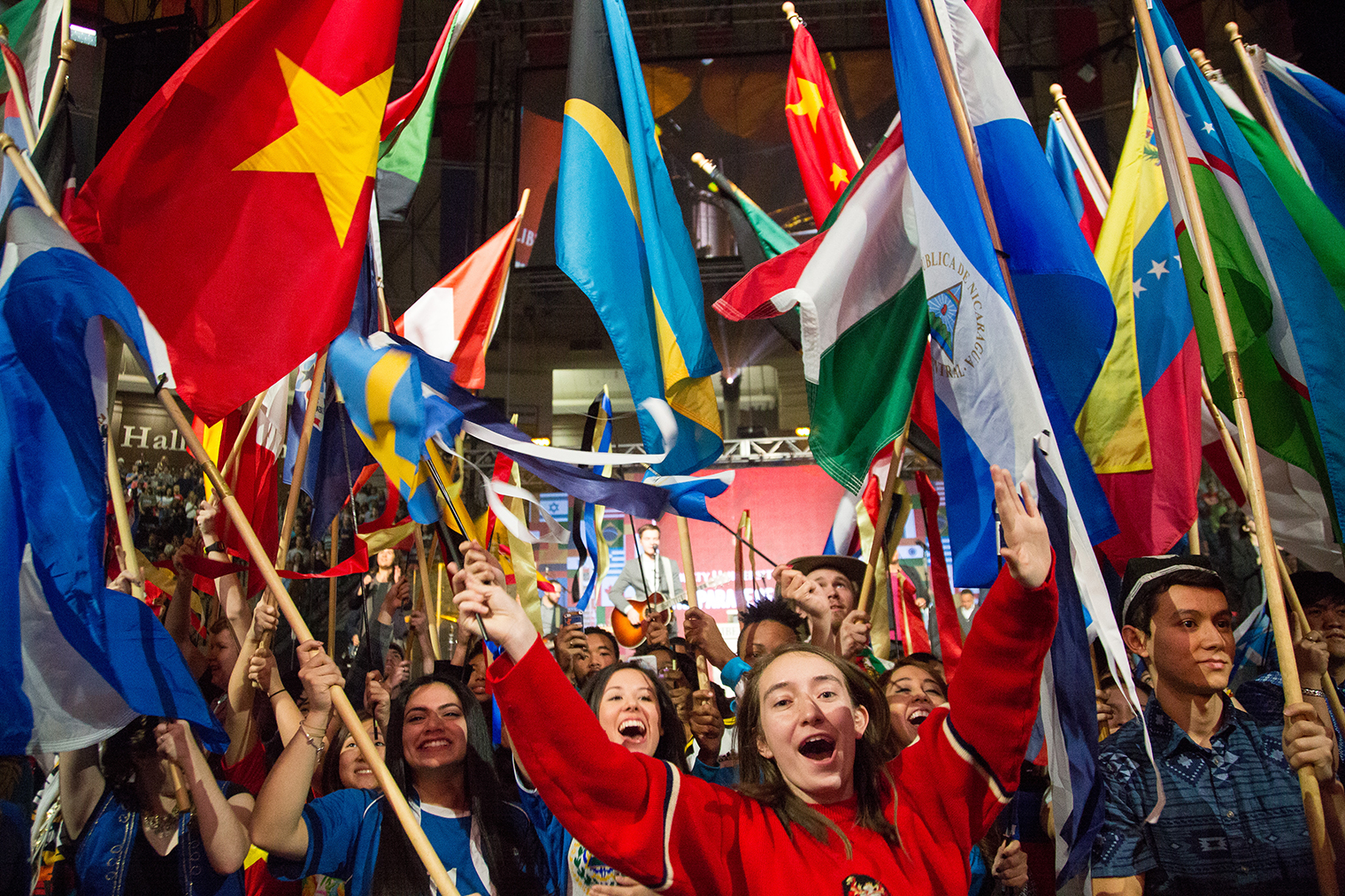 Liberty's international students represent their home countries during the Parade of Nations.