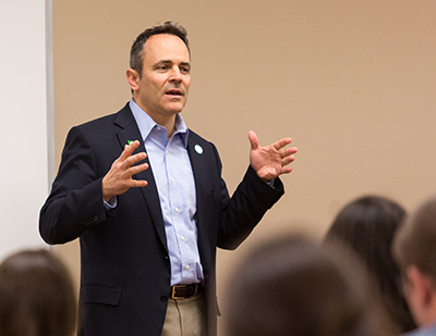 Matt Bevin speaking to government students