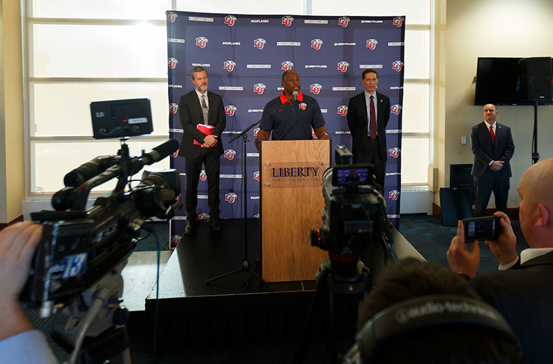 Liberty University President Jerry Falwell, Head Football Coach Turner Gill, and Director of Athletics Ian McCaw addressed members of the press at Williams Stadium on Thursday.