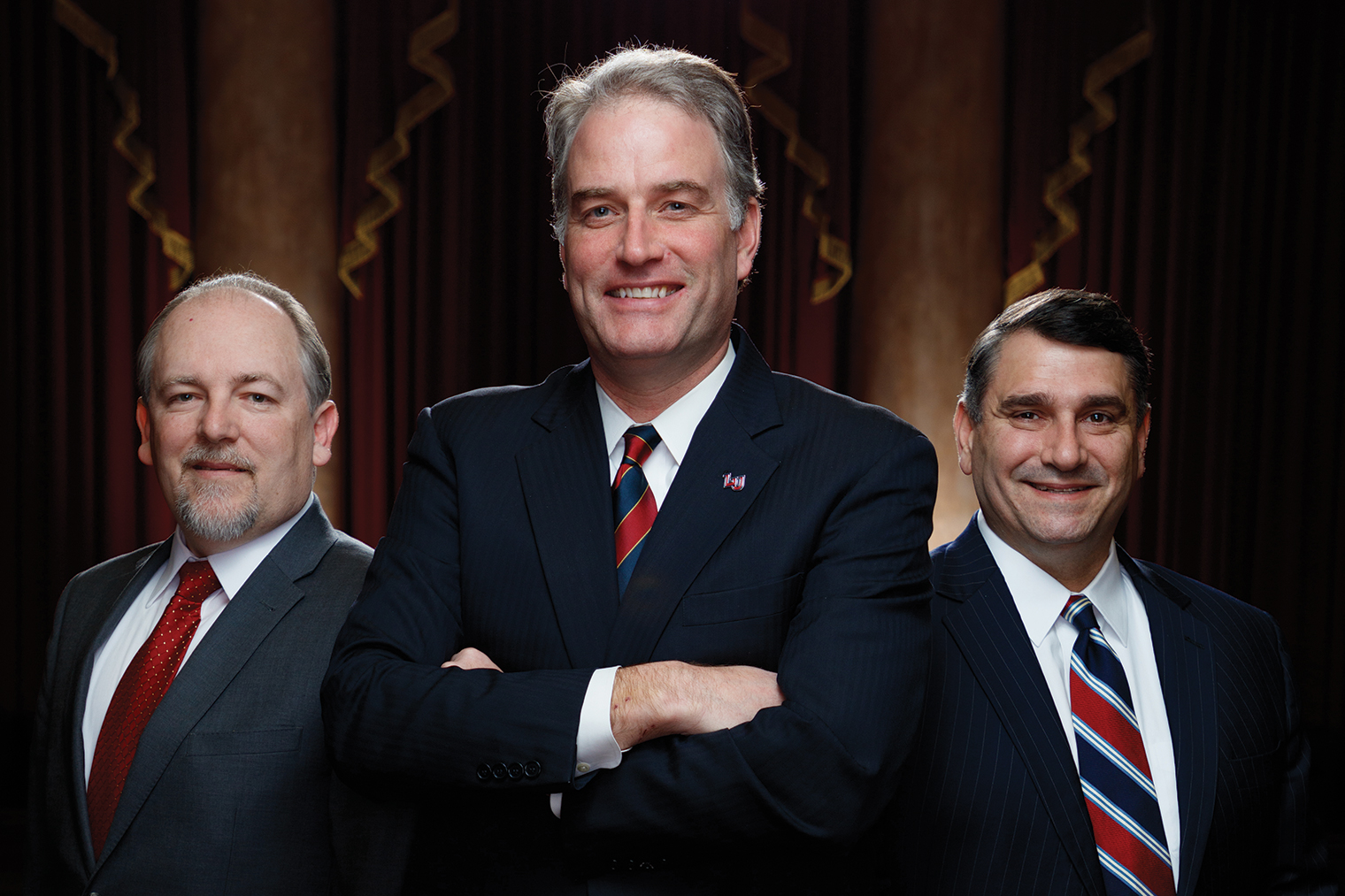 Former U.S. Rep. Robert Hurt (center) will work closely with Liberty University Helms School of Government Dean Dr. Shawn Akers (left) and Liberty University School of Law Dean Dr. Keith Faulkner as he establishes the new Center for Law & Government at Liberty.