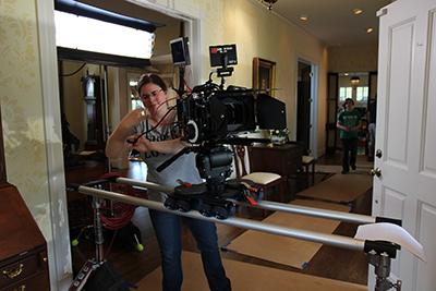 Marissa Scalzo works on the set of 'Texas Rein.'