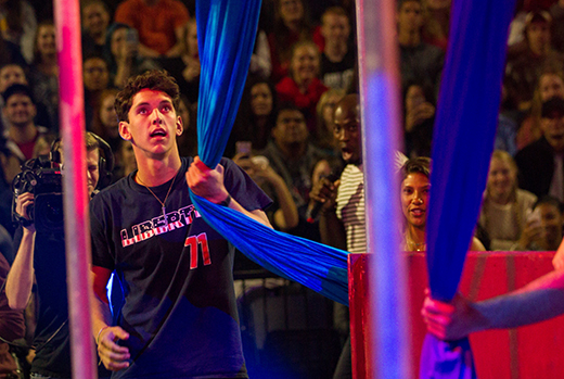 American Ninja Warriors challenge students to obstacle course during