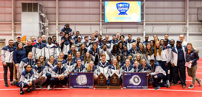 Liberty's men's and women's indoor track & field teams claimed Big South Championships on the same day at the Liberty Indoor Track Complex. (Photo by Andrew Snyder)